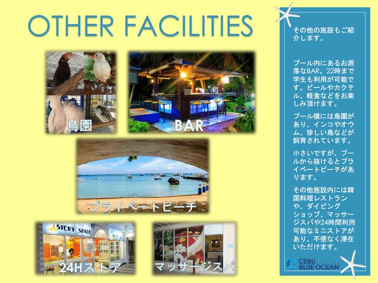 プール内にあるお洒落なBAR。22時まで学生も利用が可能です。ビールやカクテル、軽食などをお楽しみ頂けます。プール横には鳥園があり、インコやオウム、珍しい鳥などが飼育されています。小さいですが、プールから抜けるとプライベートビーチがあります。その他施設内には韓国料理レストランや、ダイビングショップ、マッサージスパや24時間利用可能なミニストアがあり、不便なく滞在いただけます。