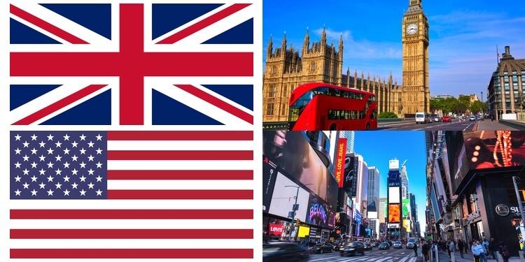 アメリカとイギリスの国旗・風景