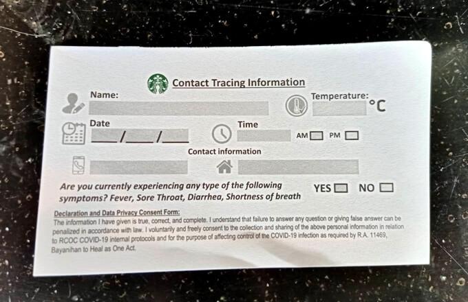 スターバックスが実施しているContact Tracing Infomationの写真