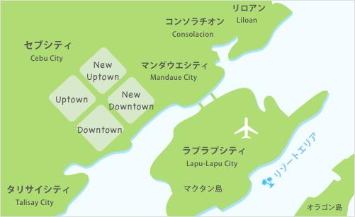 セブ島留学のエリアマップ