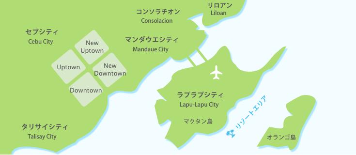 セブ島の簡略地図