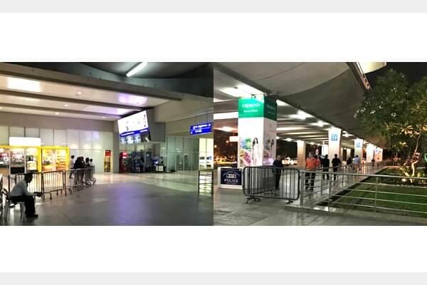マニラ空港の第二ターミナルの出口前